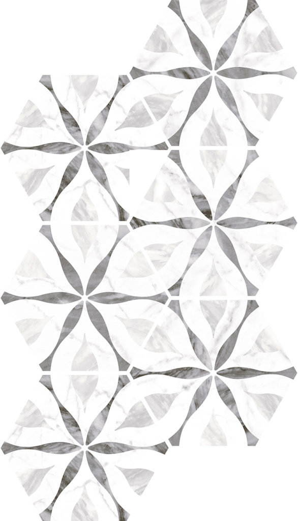 Керамогранит EQUIPE BARDIGLIO Hexagon Decor Flower 17,5*20